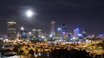 Amazing Modern City Night Moon Wallpaper Photo Picture