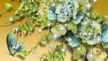 Free Download Beautiful Aqua Flowers On Gold Wallpaper