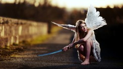 Beautiful Angel And Blue Sword Picture Image HD Wallpaper Free Download