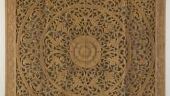 Wall Decor Teak Wood Lotus Floral Panel Decorative Art Hanging Kan