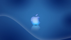 Blue Logo Apple With Blue Background HD Wallpaper For Your Mac Desktop