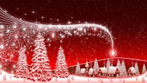 White Christmas Tree And Red Backgorund HD Wallpaper Image