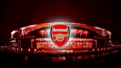 Beautiful Arsenal Logo And Emirates Stadium Image HD Wallpapers 2014