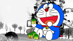 Funny Doraemon Cartoon Black White HD Wallpaper Image Picture