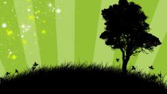 Cute Black Tree Green Background HD Wallpaper Widescreen