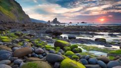 Moss Covered Rocks Beach Sunset HD Wallpaper