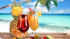 Tropical Beach Drinks HD Wallpaper