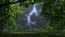 Lightning Bolt over a Field HD Wallpaper