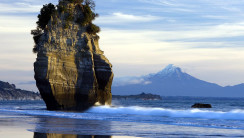Mount Taranaki and Sea Stack New Zealand HD Wallpaper