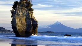 Mount Taranaki and Sea Stack New Zealand HD Wallpaper