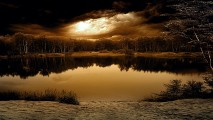 Pond and Woods with Clouds HD Wallpaper