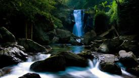 Waterfall and Rocks HD Wallpaper